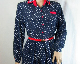 Navy  White POLKA DOT Mini DRESS  1980's Petites by Willi Red Trim size medium