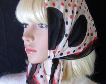 Black and Red POLKADOT SCARF made in Japan