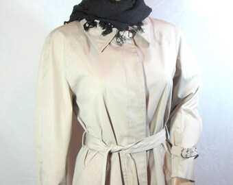 1970s LONDON FOG Trench COAT Size 12 Petite beige cream cotton polyester