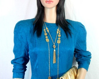 80s SILK DRESS by Maggy London Electric Blue Puff Sleeve S M