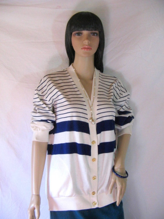 1980s Slouch Striped Nautical Cardigan Sweater size large Navy and White