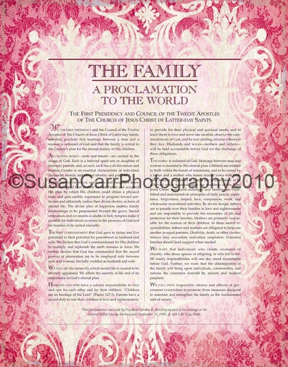 LDS Proclamation of the Family, PINK damask