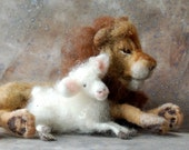 Lion and Lamb - Needle Felted