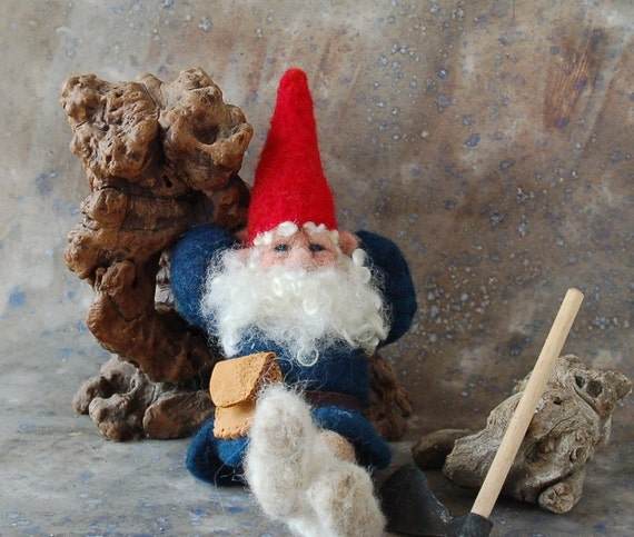 Needle Felted Gnome with Axe