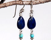 Blue Lapis and Turquoise on Sterling Silver earrings