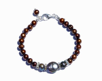Chocolate peacock freshwater pearl bracelet with Swarovski crystal and Sterling Silver