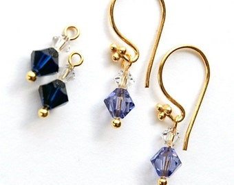 Interchangeable earrings - 2 sets of Swarovski drops on Bali Gold Vermeil in Tanzanite and Sapphire