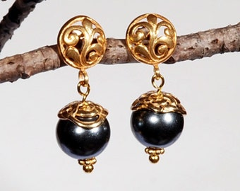 Black Shell Pearl and Gold Vermeil Scroll Post Earrings