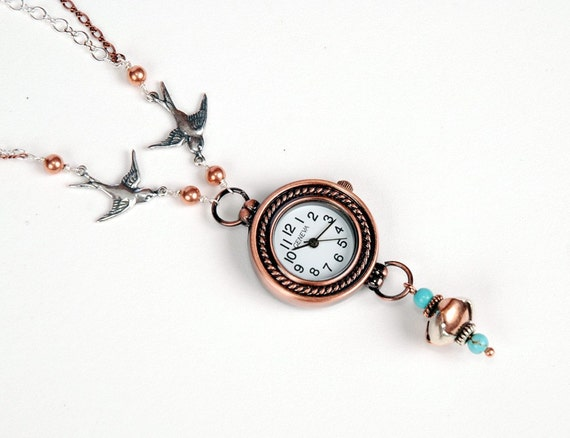 "Birds holding Copper Watch Necklace with Silver and Turquoise - ""Time Flies"""
