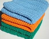 Three Cotton Dishcloths  - Orange, Green, Blue Crochet Dishcloths - Crocheted  - Hoooked Dishcloths, Dish Cloths - Ready To Ship