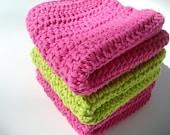 Three Cotton Dishcloths - Pink and Green Dish Cloths - Crochet, Crocheted Dishcloths - Watermelon Kitchen Dish Cloth Set - Ready To Ship