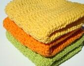 Citrus Dishcloths, Three Cotton Dishcloths, Yellow, Orange, Lime Green Dishcloths, Crochet Dishcloths, Crocheted Dishcloths, Dish Cloths