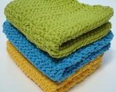 Three Cotton Dish Cloths - Turquoise Blue, Lime Green, Sunshine Yellow Dishcloths, Dish Cloths - Crocheted, Crochet Dishcloths, Dish Cloths