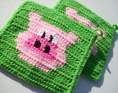 Two Pig Potholders, Bright Lime Green Pig Potholders, Pink Crochet, Crocheted Pot Holders, Potholders, gift for mom, her MADE TO ORDER