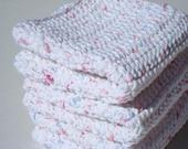 Three Marbled Cotton Dishcloths, Crochet Dishcloths, Crocheted Dishcloths, White Fleck Dishcloths, Dish Cloths - Hoooked