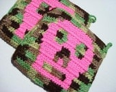 Two Camouflage Potholders with Hot Pink Skulls, Crochet Potholders, Pot Holders, Hotpads, Hot pads, Trivet Set MADE TO ORDER