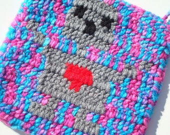 CLEARANCE Static Robot Potholder - Geekery - Multicolor Robot Potholder - Ready To Ship