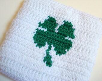 CLEARANCE Four Leaf Clover Potholder - Green and White Crochet Potholder - Hoooked Crochet Pot Holder, Potholder, Hot Pad - St Patricks Day