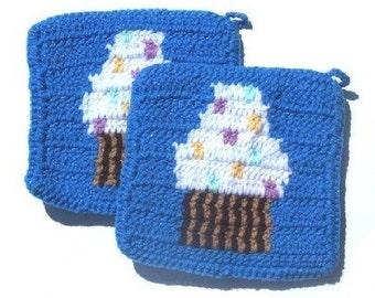 Blue Cupcake Potholders - Blue, Crochet Potholders, Pot Holders, Hotpads, Hot Pads, Trivet Sets - Cupcake Kitchen Decor MADE TO ORDER