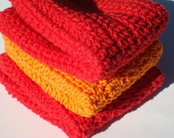 Three Cotton Washcloths - Red and Orange Dishcloths, Dish Cloths - Crochet Autumn Home Decor - Ready To Ship Kitchen Wash Cloths