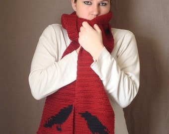 Raven Scarf, Red Scarf, Crochet Scarf, Silhouette, Autumn Red Scarf, Crochet Scarf, Scarves, Winter Unisex Scarf for Men Women MADE TO ORDER