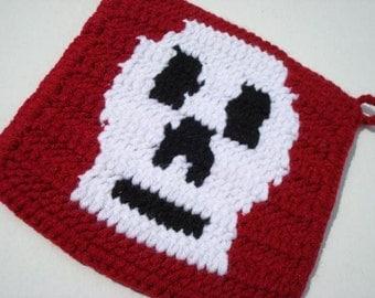 CLEARANCE Skull Potholder - Red Potholder - Crochet Potholder, Pot Holder, Hotpad, Hot Pad - Ready To Ship