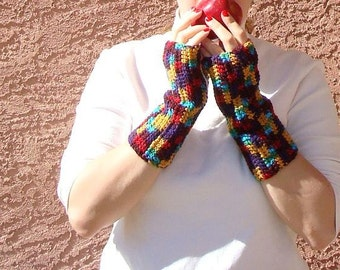 MADE TO ORDER Colorful Folklore Fingerless Gloves for Men or Women, Crochet Red, Yellow, Purple, Blue Fingerless Gloves, Arm Warmers