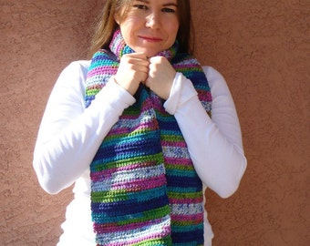 Jazz Stripes Scarf - A Multicolor Pink, Blue, White, Green Striped Scarf for Women - Crocheted Scarf - Crochet Scarf - Ready To Ship