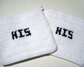 MADE TO ORDER Black and White His & His Potholders Gay Wedding Gift - Gay Valentines Day Present - Father's Day Gift
