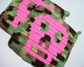 MADE TO ORDER Two Camouflage Potholders with Hot Pink Skulls, Crochet Potholders, Pot Holders, Hotpads, Hot pads, Trivet Set - Ready To Ship