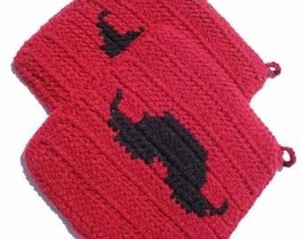 Red Mustache Potholders - Black Silhouette Mustache - Crochet Potholders, Pot Holders, Hot Pads, Hotpads, Trivet Set - Ready To Ship