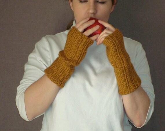 Honey Fingerless Gloves for Men or Women, Crochet Fingerless Gloves, Wrist Warmers, Arm Warmers, Fingerless Mittens, Hand Crocheted, Unisex