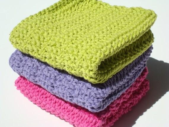 Three Cotton Dishcloths - Lime Green, Purple and Hot Pink Crochet Dishcloths, Dish Cloths - Bright, Hot, Fun Colors - Ready To Ship