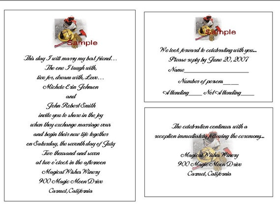 100 Wedding Invitations: 100 Personalized FIREFIGHTER WEDDING INVITATION By