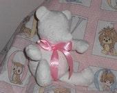 Minky teddy bear stuffed rag quilt baby girl boy