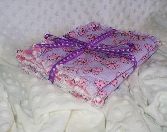 Cotton Shabby Chic baby burpies, burp cloths