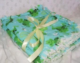 Handmade Shabby Chic rag quilt burpies, burp cloths green frogs