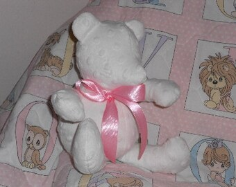 Stuffed teddy bear, minky, cotton, baby girl, baby boy