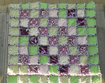 Rag Quilt, Reversible,  picnic blanket, beach throw, Joel Dewberry, purple, plum, birds
