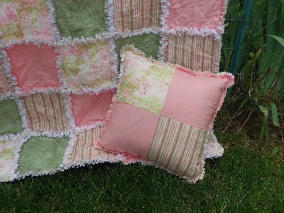 Handmade Shabby Chic Pillows : Handmade Shabby Chic rag quilt and pillow tiny flowers roses