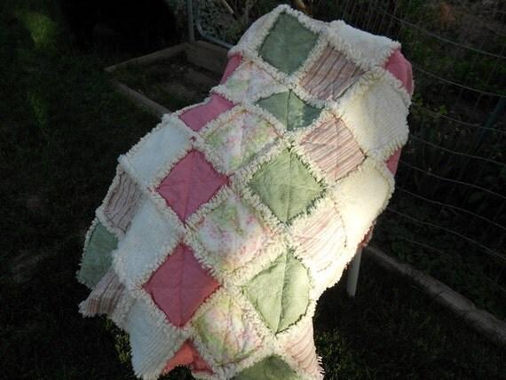 Baby girl rag quilt shabby chic pink sage nursery
