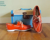 Orange Leather 70s 80s Topsiders Moccasins Boat Shoes 6