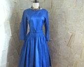 Vintage 50s COBALT BLUE Satin Party Dress Sm Med
