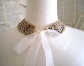 RESERVED Vintage Pearl Beaded Collar Necklace with Bow