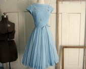 Reserved Reserved Reserved Vintage 1950s Dress, 1950s Blue Dress with Smocking and Full Skirt, SM