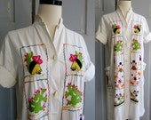 1960s Mexican Dress, 1960s Dress Embroidered Mexican Ethnic MED