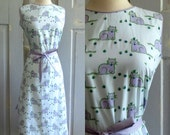 Reserved Reserved Reserved Reserved Reserved 1960s Dress 60s Cotton Shift Sleeveless Printed with Purple Cats Womens Medium