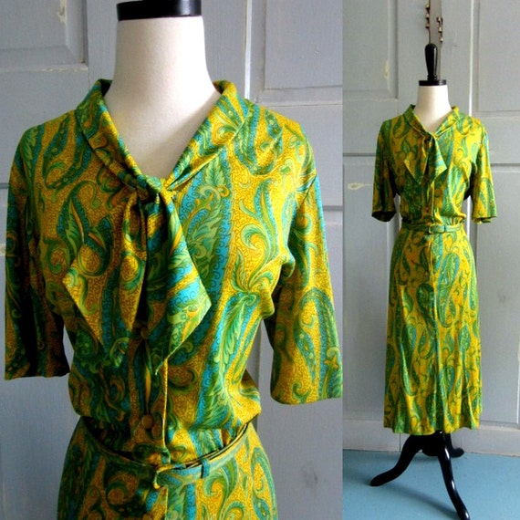 1960s Dress, 60s Dress with Green and Yellow Paisleys LG