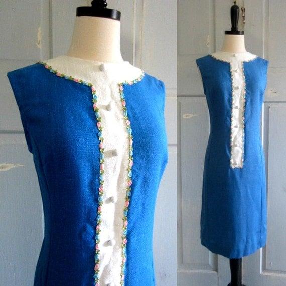1960s Dress, 60s Blue Linen Dress with Pastel Flowers SM MED