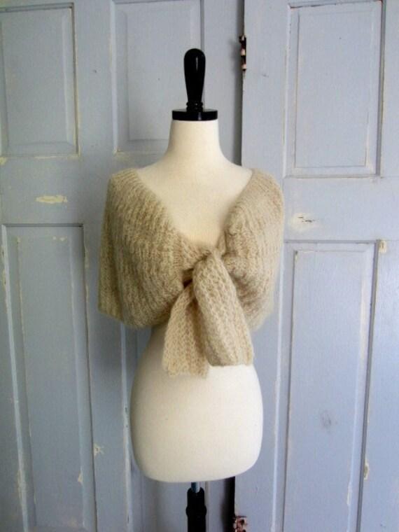 Vintage Shrug, Vintage Crocheted Italian Mohair Wool Shrug Shawl in Oatmeal